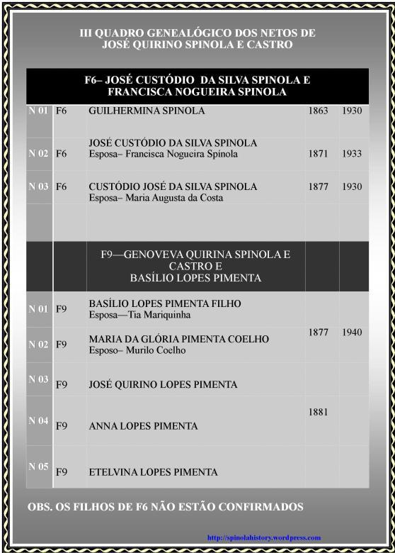 III QUADRO GENEALÓGICO DOS NETOS DE JOSÉ QUIRINO SPINOLA E CASTRO
